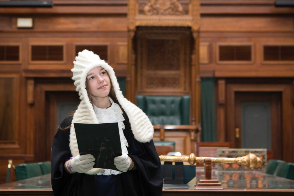 Student roleplay in House of Representatives Chamber